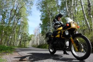 Carla King riding BMW in Sundance, Utah, Schuberth C3W Helmet