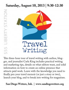 Adventures in Travel Writing Workshop in San Diego August 10