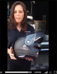 Sarah Shilke demos the Schuberth C3 for Women Motorcycle Helmet at Women On Wheels International Ride-In
