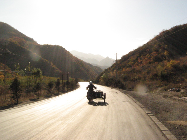 China Road, Alone in the Heibi Province Mountains in the Sidecar