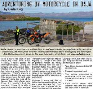 Adventuring by Motorcycle in Baja, Discover Baja News December 2015
