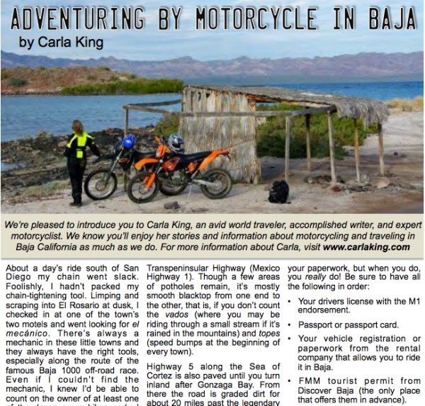 Discover Baja by Motorcycle December 2015 Newsletter