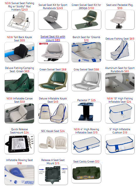 Sea Eagle Boat Seats and Accessories